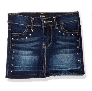 DKNY Studded Denim Jean Mini Skirt Hem & Release